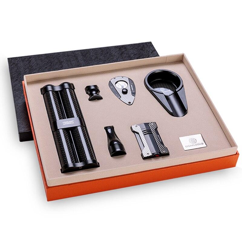 Cigar set ashtray lighter cigar tube cigar drill cigar cutter cigarette holder 10 sets of smoking set CL T302