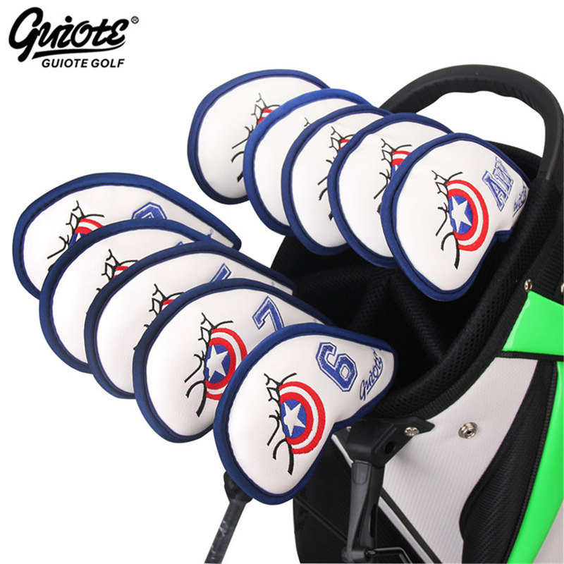 Captain American Golf Irons Headcovers Golf Iron Cover Set Embroidery Design #3-9PAS 10pcs/lot For Men Women