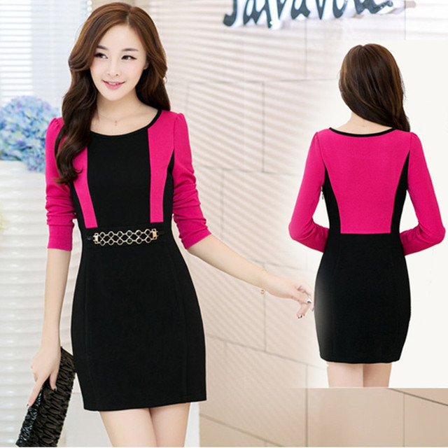 4628e7d4a3 free shipping canada robe femme2016new spring Korean high waist slim fit  package hip dress OL autumn