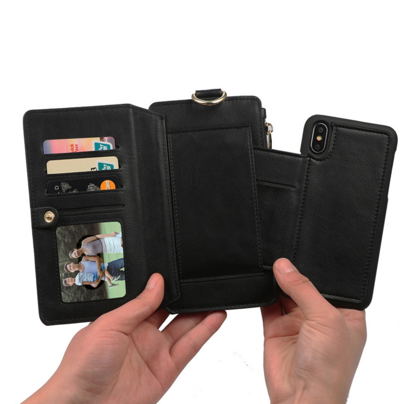 promo code 37ba6 0b953 Cell Phone Wallet Genuine Leather Phonecase For Iphone X Collection Cards  Holder RFID Blocking Case