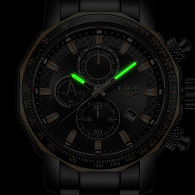 ליגע קוורץ עמיד למים יוקרה ספורט סגנון Mens שעונים למעלה מותג נירוסטה רצועת הכרונוגרף מלא לוח שנה reloj hombre
