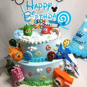 Prezent urodzinowy super wings zabawki topper robot samolot zabawkowy cupcake lalki dla dzieci dzieci urodziny dzieci helikopter ozdoba na wierzch tortu