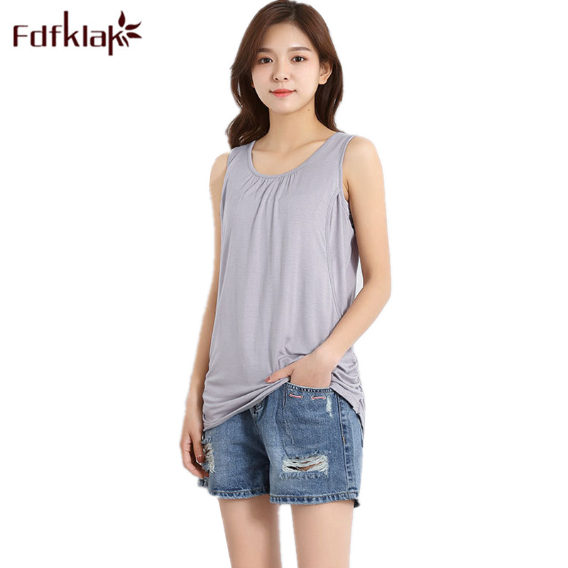 Fdfklak Pregnant Clothes Summer Modal Maternity Vest Open Breast Top Clothes For Nursing Mothers Breastfeeding Tank Top F176