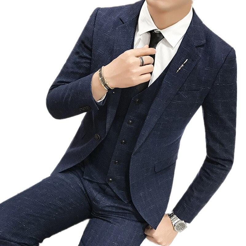 Brand Men Black Dress Suits Blazer Set 2 Buttons Classic High Quality Handmade Suits Set 3 Pieces Jackets+Pants+Vest Trousers