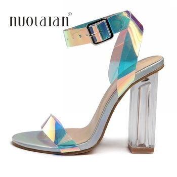 2019 Women Sandals Shoes Celebrity Wearing Simple Style PVC Clear Transparent Strappy Buckle Sandals High Heels Shoes Woman 1