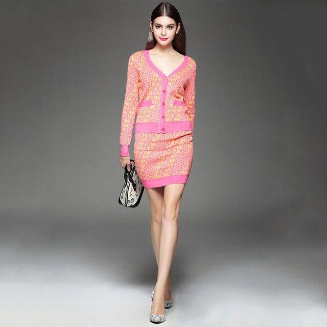 Вязание письмо печатные женщины набор conjunto де roupas mulheres vestido dos piezas женщин 2 шт. комплект с юбкой 062923