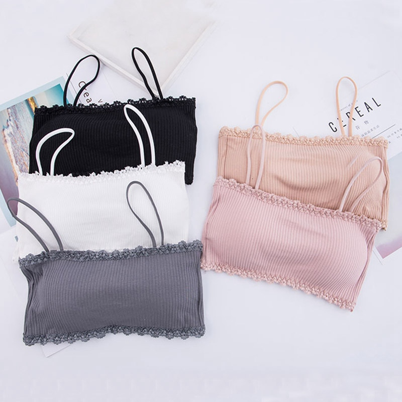 Women Bralette Crop Top Back Closure Bra Chest Pad Underwear Girls Strapless Tube Top