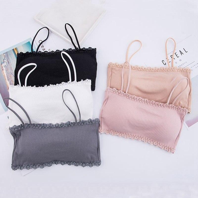 Women Bralette Crop Top Back Closure Bra Chest Pad Underwear Girls Strapless Tube Top