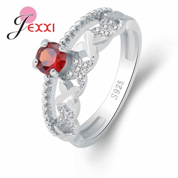 New Fashion 925 Sterling Silver Ring Red Cubic Zirconia Cross Jewelry Party Enagaement Gift For Women High Quality