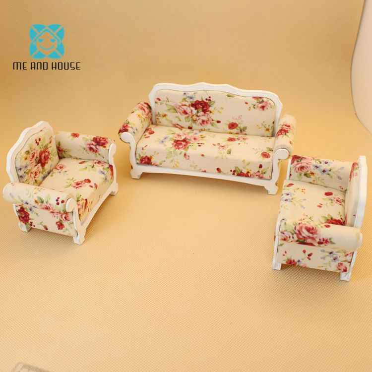 1:12 Doll House Sofa Romantic Living Room Sofa and Two Chairs Set Pink Floral