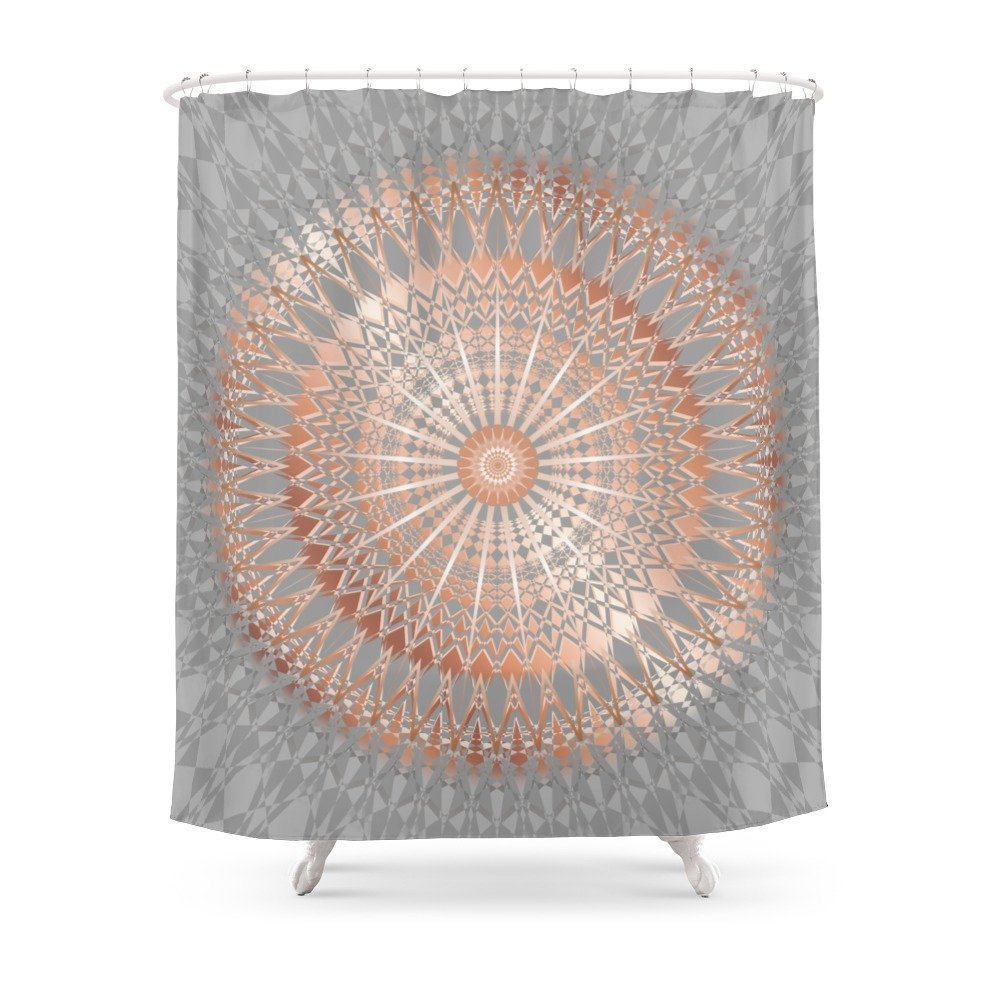 Rose Gold Gray Mandala Shower Curtain Polyester Fabric Bathroom