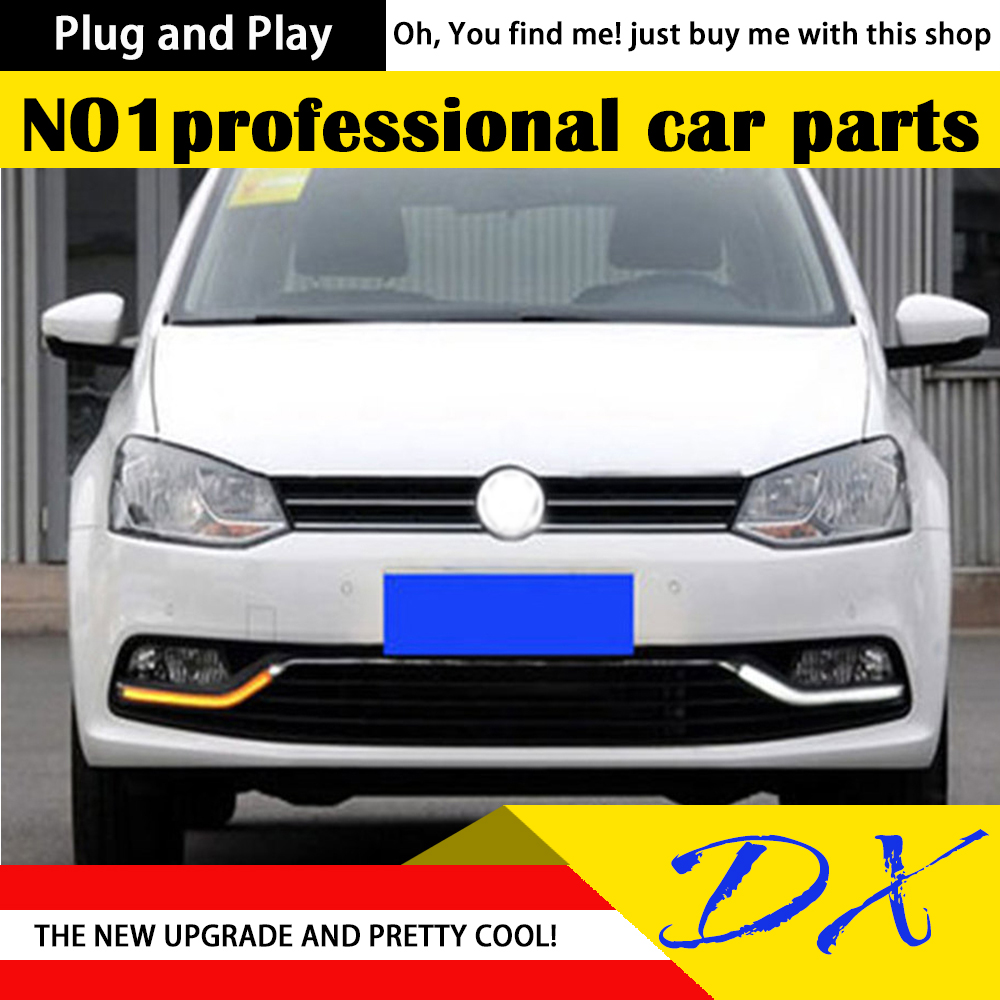 DX  Car Styling LED Fog Lamp for VW Polo DRL 2014-2015 New Polo LED Daytime Running Light Fog Light Signal Parking Accessories