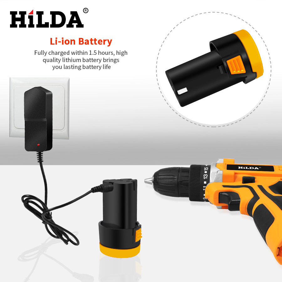 Image 2 - HILDA 12V Electric Drill With Rechargeable Lithium Battery Electric Screwdriver Cordless Screwdriver Two speed Power Tools-in Electric Screwdrivers from Tools on