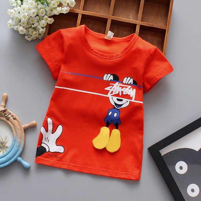 ילדי ילדה ילד T חולצת כותנה קצר שרוולים חולצה לילדים הדפסת קריקטורה אפור אדום בני חולצת טי ילד של בגדים