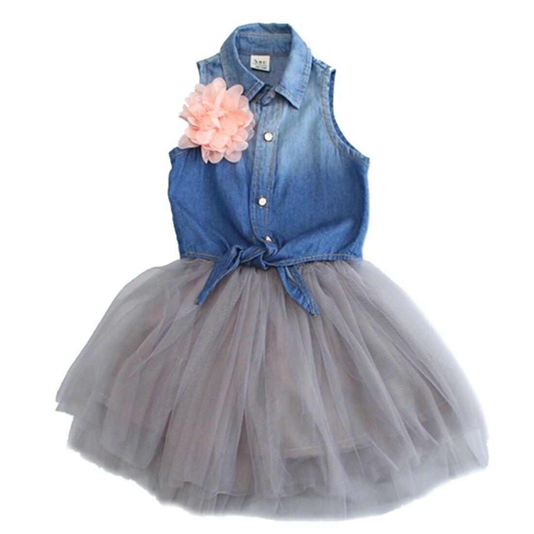 2 Pcs Summer Kids Baby Girl Denim Flower Vest Tops Gauze TuTu Skirts Outfit
