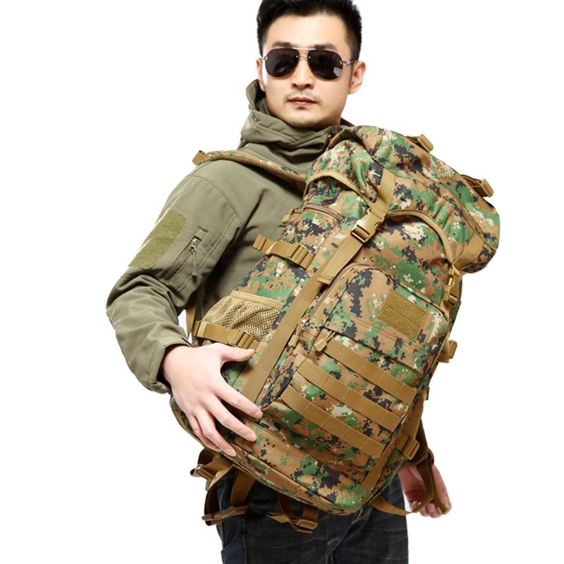 Prix pour Hommes unisexe 50L fans armée Campe Sacs À Dos Grande capacité Camouflage Voyage Trekking sac pack armée tactique étanche Sac en nylon
