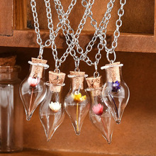 Hot Fashion New 1PC Women Lady Girls Dry Flower Lucky Wish Glass Bottle Chain Pendant Necklace