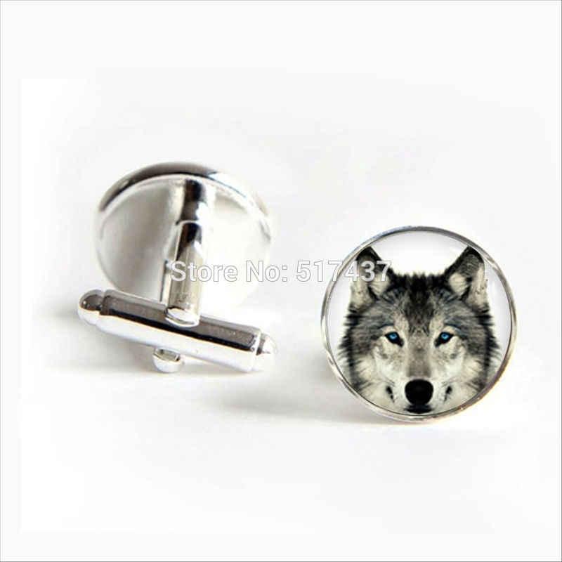 2017 wholesale Arctic Wolf Cufflinks Wolf Cuff link Glass Animal Cufflink Jewelry Shirt Cufflinks For Men's