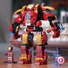 цена на 338PCS Marvel Super Heroes Avengers Building Blocks Ultron Figures Iron Man Captain America Hulk Buster Bricks Toys DBP422