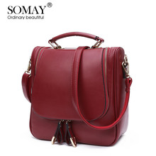SOMAY England Style new brand channels leather handbags Women messenger bags Red shoulder Crossbody bag Multi-purpose
