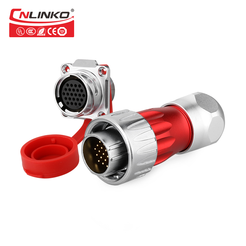 CNLINKO DH-24 Series 24 Pin Waterproof Connector IP67 Male Female Connectors, Power Cable Panel Mount Plug & Socket jelen hp20 series 7 pin industrial connectors plug socket aviation connector power charger male and female connectors 7 pin