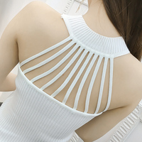 Summer Women Fashion Slim Knitting Tank Tops Female Bodycon Hollow-out Stretchy Camisole Sleeveless T shirts BH2773