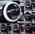XUKEY 3 Pcs Faux Pele De Carneiro Pele De Lã de Pelúcia Direcção Do Carro Auto Tampa da roda de Freio de Mão Tampa Botão Da Engrenagem Do Travão de mão Luva Fofo inverno