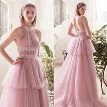 Verngo Pink Tulle A Line Wedding Dress Sleeveless Tiered Gowns 2019 Beach Bride Boho Gelinlik