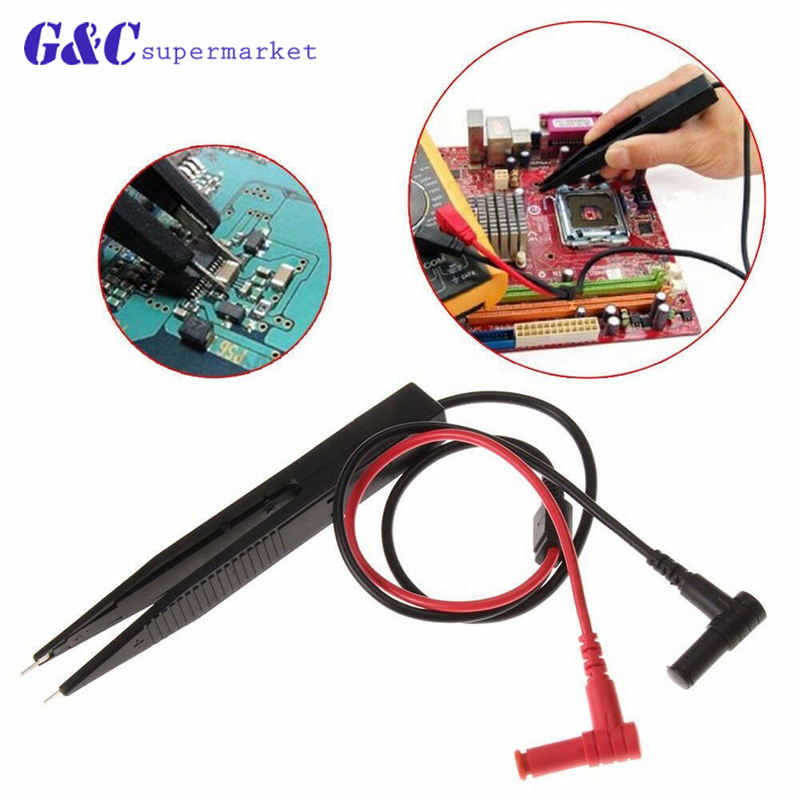 SMD SMT Test Leads Chip Component LCR Testing Tool Multimeter Tester Clip Meter Pen Lead Probe Tweezers Capacitor