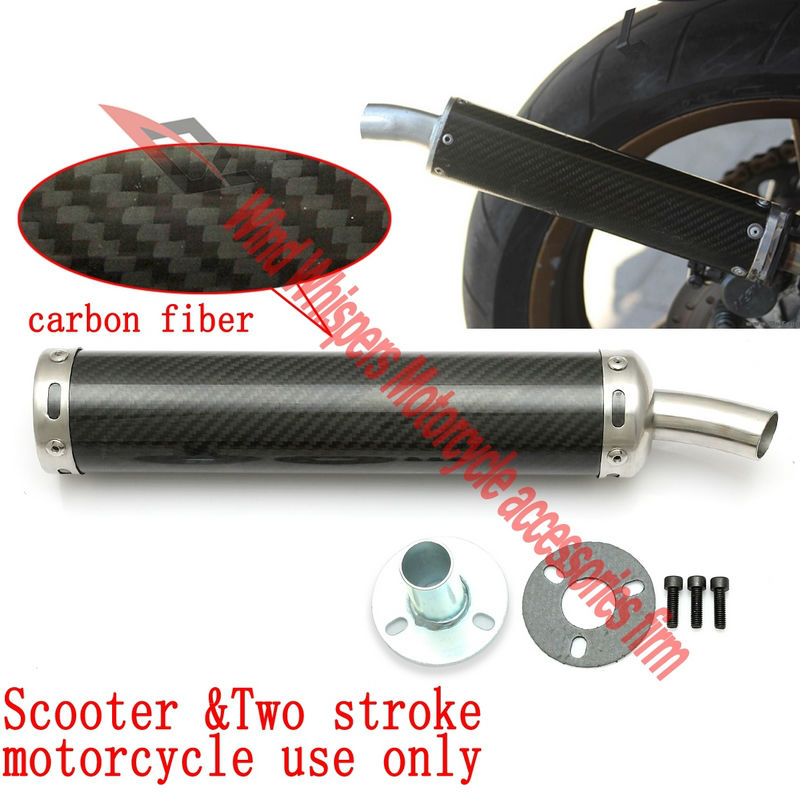 ФОТО Universal 50-250CC Two stroke Dirt Bike Modified carbon fiber motorcycle exhaust pipe For NSR250 TZR125 TZM150 RVG250