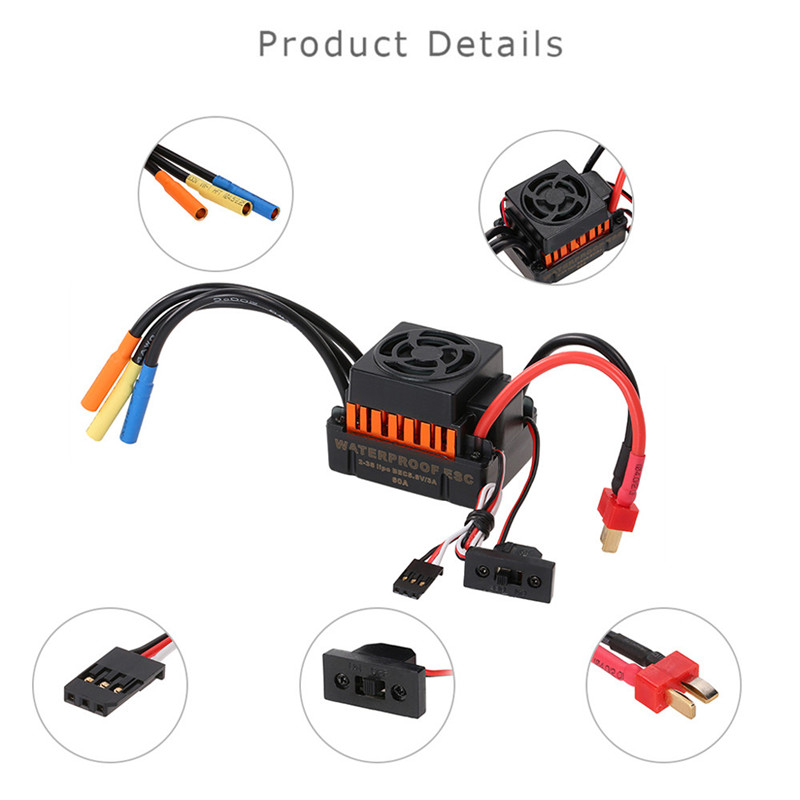 High Qaulity 3650 3900kv-4300kv waterproof brushless motor with 60A ESC combination, set to 1 / 10 RC truck Dorp Shipping #0803 1 10 rc car 3650 senseless brushless 4300 3100 2050kv motor