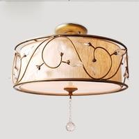 Современные Ткань абажур потолочный светильник E27 Американский простой с украшением в виде кристаллов Гостиная Спальня Обеденная подвесно