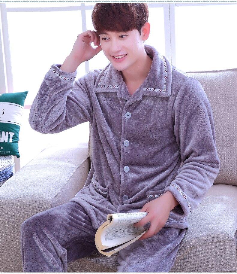 Adult Coral Fleece Homewear Male Winter Warm Nightwears Men's Thickened Flannel Long Sleeve Coral Fleece Suit Plus Size  D-2077
