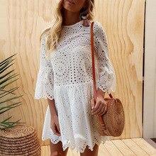 Summer Women Hollow Out Lace O-neck Beach Dress Seven-quarter Sleeve Butterfly