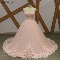 Graceful Pink Ball Gown Princess Quinceanera Dress Strapless Sweep Train Flowers Tulle Custom Made Quinceanera Dresses