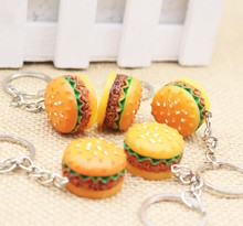 3PCS / Lot Novel Hamburger KeyRings Pendants Gifts/ Luggage & Bags Wallet Accessories Carro  Phone Kids Cute Diy Purse Hardware