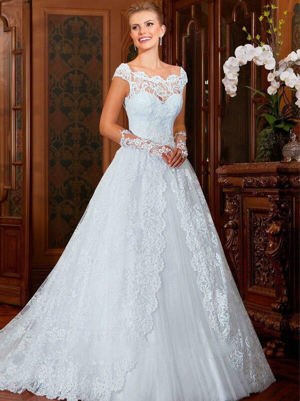 elegant bridal gowns victorian style scoop neckline wedding dresses