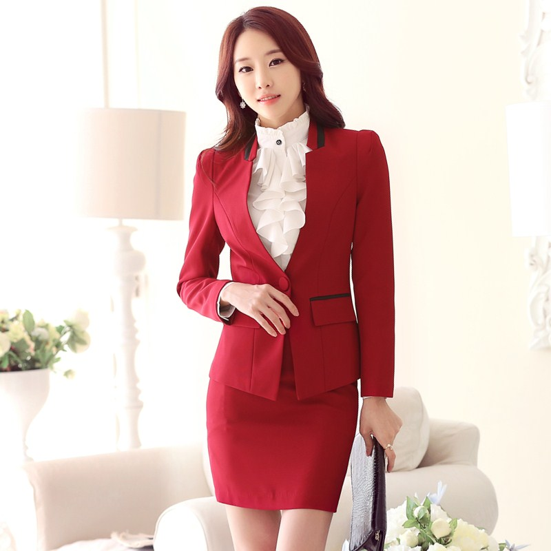 36c9be91dcd0 Formal Pink Blazer Women Skirt Suits Work Wear Sets Slim Fashion Ladies  Business Suits Office Uniform Styles OL-in Skirt Suits from Women s Clothing  on ...