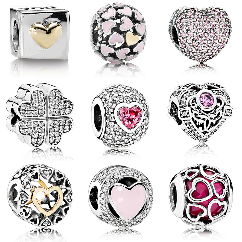 Hot Sale Silver Beads Love Heart Fall In Love Bead For 925 Original Pandora Charm Bracelets & Bangles Jewelry