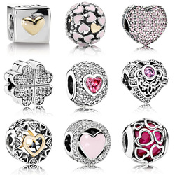 Silver Color Beads Love Heart Fall In Love Bead For 925 Original Pandora Charm Bracelets & Bangles Jewelry