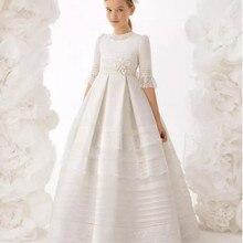 Винтажные платья для причастия для девочек; атласное кружевное платье с короткими рукавами для девочек; нарядное платье для девочек с кружевной аппликацией; Одежда для девочек; платья для причастия