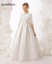 Принцессы Белое платье с цветочным рисунком для девочек для свадьбы Половина рукава Девушки Праздничное платье с кружевной аппликацией для девочек причастие платья на заказ