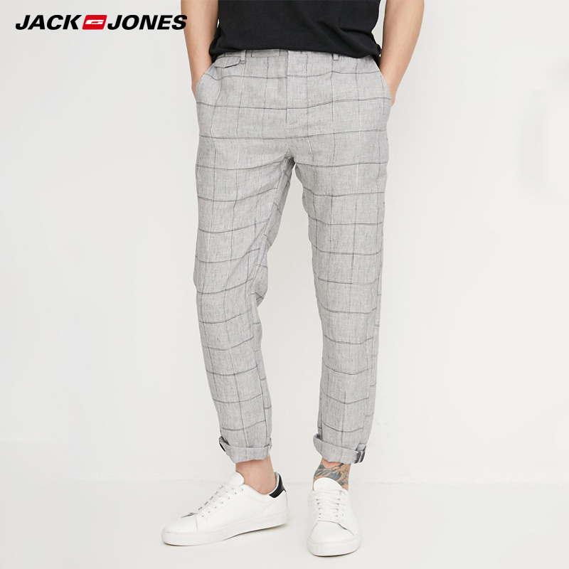 Jack Jones Spring Men Pants Casual Straight Plaid Pants Linen Pants Men Trousers |218214527