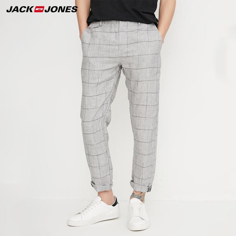 Jack Jones Spring Men Pants Casual Straight Plaid Pants Linen Pants Men Trousers |218214527