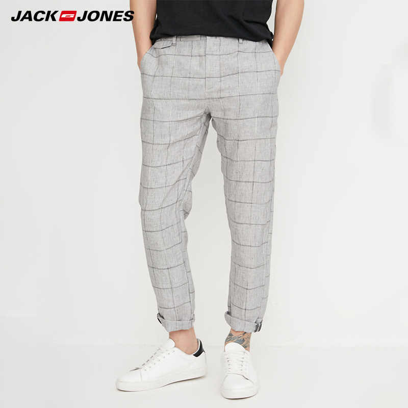 Jack Jones Pantalones De Lino Para Hombre Pantalon Informal Recto A Cuadros Para Primavera 218214527 Pantalones Informales Aliexpress