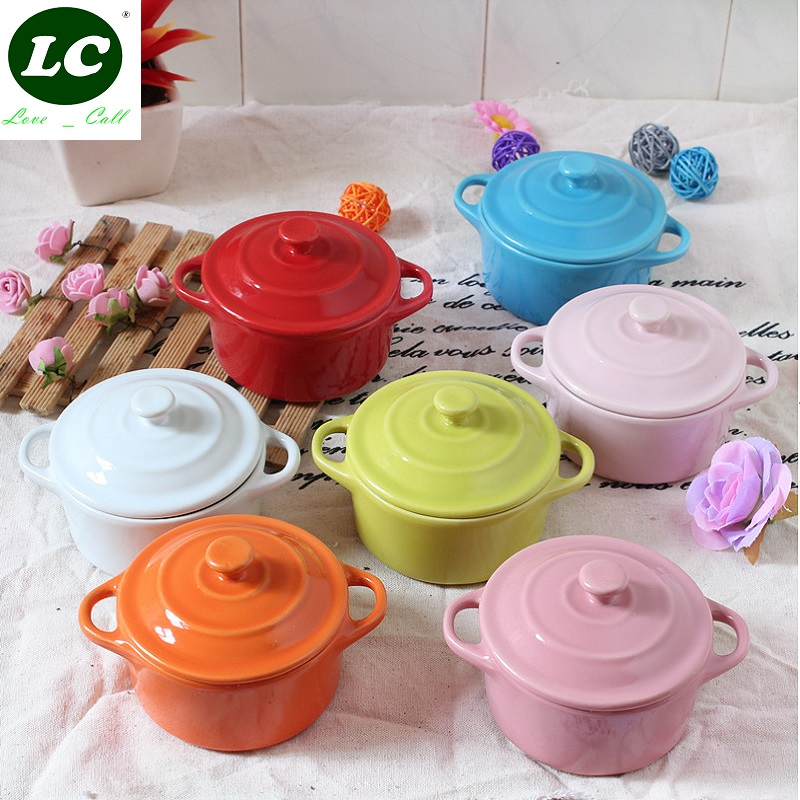 200ml Keramikas mikroviļņu krāsns zupa kafijas galda trauki lēni plīts deserta zupa katlu zupa bļoda mini kastrolis