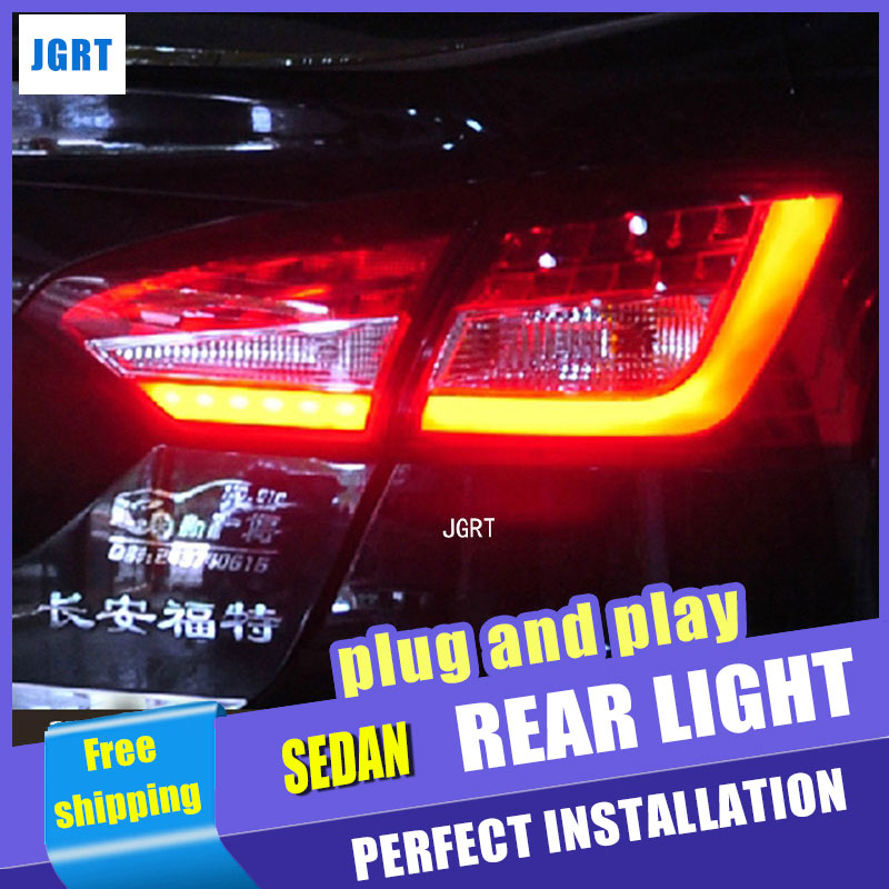 Car Styling for Ford Focus 3 Taillight assembly 2012-2014 New Focus Sedan LED Rear Lamp DRL+Brake+Park+Signal with hid kit 2pcs. boomboost 2 pcs car led for ford new focus 2012 2014 daytiime running lights car styling