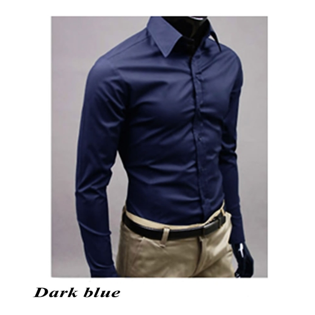 Men 's Fashion Candy Color Long – sleeved Slim Business Casual Shirt Men Luxury Stylish Casual Dress Slim Fit Casual Blouse