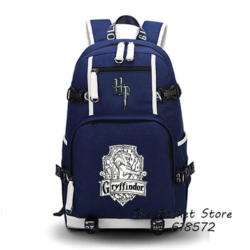 High Quality Harry Potter Gryffindor/Hufflepuff/Ravenclaw/Slytherin Hogwarts School Women Printing Backpack Canvas School Bags