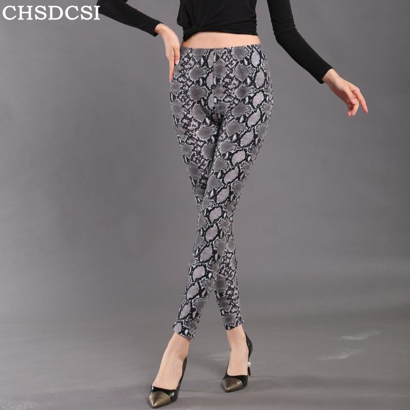CHSDCSI Women Fitness Leggins Push Up   Leggings   High Waist Workout   Legging   Fashion Female Snake Printed   Leggings   Plus Size Pants
